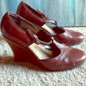 Light brown wedge heels